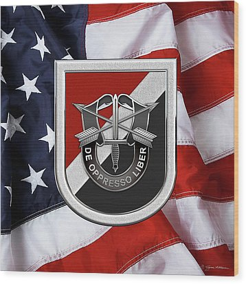 U. S.  Army 6th Special Forces Group - 6th S F G  Beret Flash Over American Flag Wood Print by Serge Averbukh