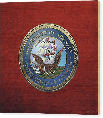 U. S.  Navy  -  U S N Emblem Over Red Velvet Wood Print