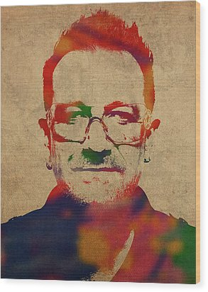 U2 Bono Watercolor Portrait Wood Print