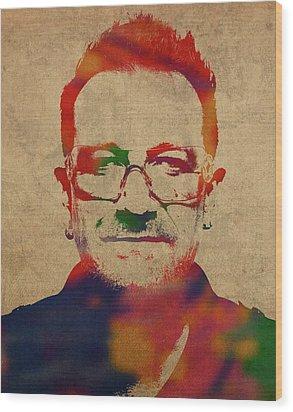 U2 Bono Watercolor Portrait Wood Print