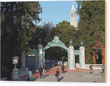 Uc Berkeley . Sproul Plaza . Sather Gate And Sather Tower Campanile . 7d10025 Wood Print by Wingsdomain Art and Photography