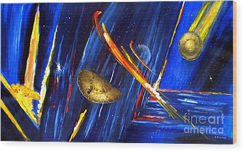 Wood Print featuring the painting UFO by Arturas Slapsys