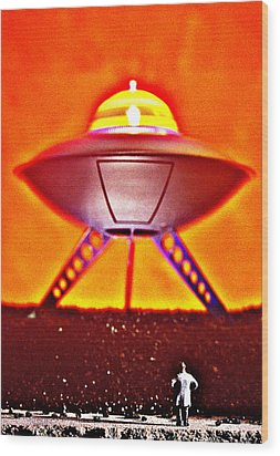 UFO Wood Print by L S Keely