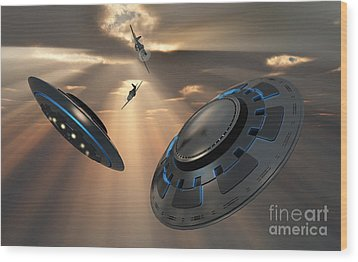 Ufos And Fighter Planes In The Skies Wood Print by Mark Stevenson