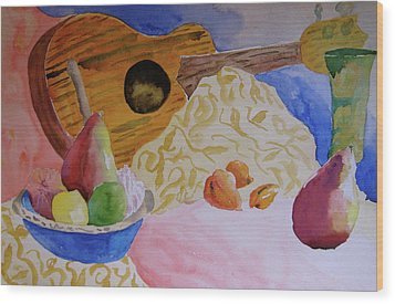 Wood Print featuring the painting Ukelele by Beverley Harper Tinsley