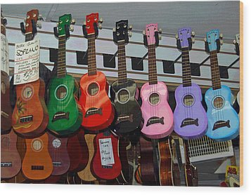 Ukeleles For Sale Wood Print by Suzanne Gaff