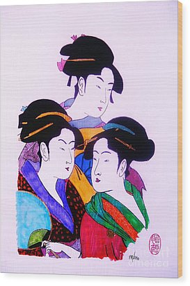 Wood Print featuring the painting Ukiyo Sekai Go by Roberto Prusso