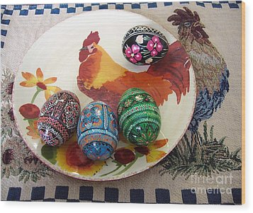 Ukrainian Pysanka Wood Print by Jim Sauchyn