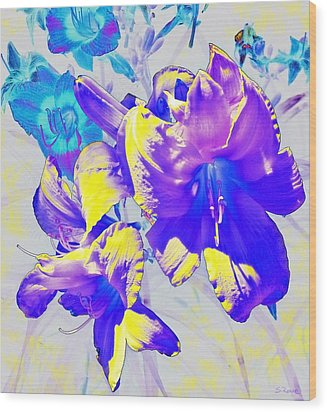 Wood Print featuring the photograph Ultraviolet Daylilies by Shawna Rowe