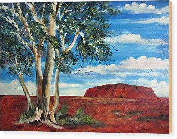 Wood Print featuring the painting Uluru Ayers Rock by Roberto Gagliardi