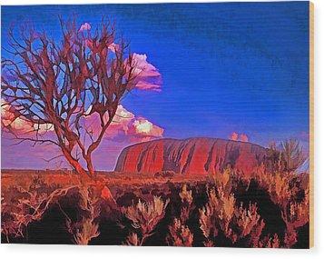 Uluru Wood Print by Dennis Cox WorldViews