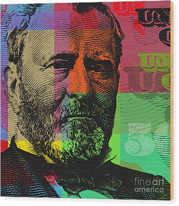 Wood Print featuring the digital art Ulysses S. Grant - $50 Bill by Jean luc Comperat