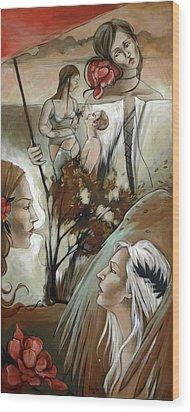 Umbrella Wood Print by Jacque Hudson