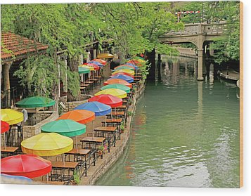 Wood Print featuring the photograph Umbrellas Along River Walk - San Antonio by Art Block Collections