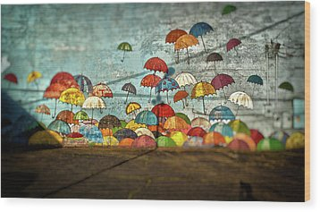 Umbrellas  Wood Print by Matthew Ahola