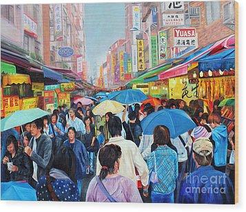 Umbrellas Up In Taiwan Wood Print