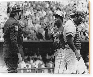 Umpire John Mcsherry Listens To Hank Wood Print by Everett