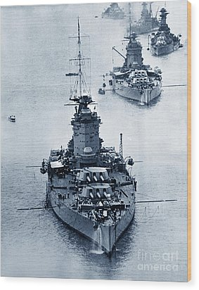 Hms Nelson And Hms Rodney Battleships And Battlecruisers Hms Hood Circa 1941 Wood Print by California Views Mr Pat Hathaway Archives