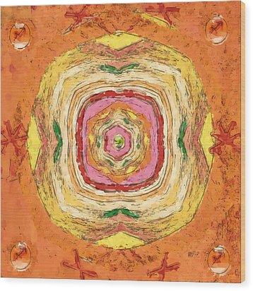Wood Print featuring the painting Unbalanced Mandala by Shelley Bain