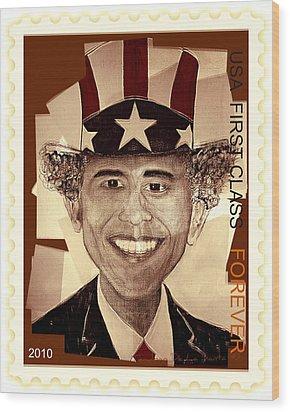 Uncle Bam  Postage Stamp Wood Print by Teodoro De La Santa