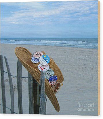 Uncle Carl's Beach Hat Wood Print