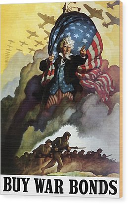 Uncle Sam - Buy War Bonds Wood Print by War Is Hell Store