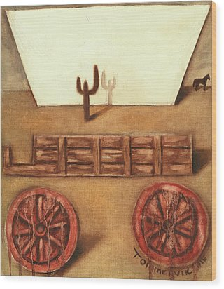 Wood Print featuring the painting Tommervik Uncovered Wagon Art Print by Tommervik