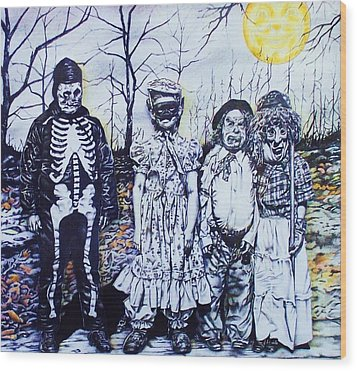 Under A Halloween Moon Wood Print by Michael Lee Summers