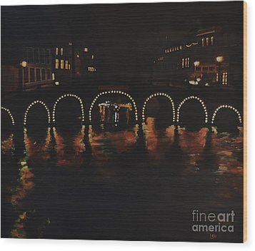 Under A Lighted Bridge In Amsterdam Wood Print