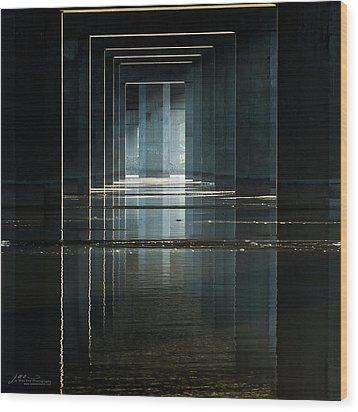Under Clark Bridge Wood Print by Jae Mishra