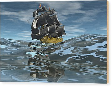 Under Full Sail Wood Print by Claude McCoy