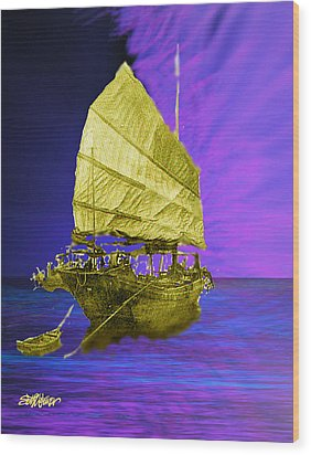 Wood Print featuring the digital art Under Golden Sails by Seth Weaver