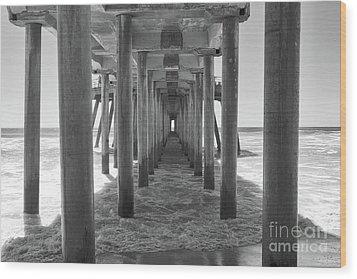 Under Huntington Beach Pier Wood Print by Ana V Ramirez