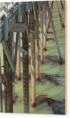 Wood Print featuring the photograph Under San Simeon Pier by Art Block Collections