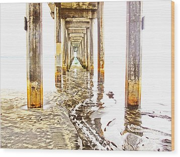 Under Scripps Pier Wood Print