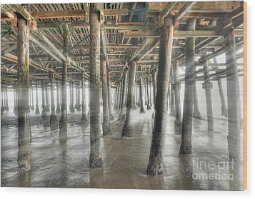 Wood Print featuring the photograph Under The Boardwalk Into The Light by David Zanzinger