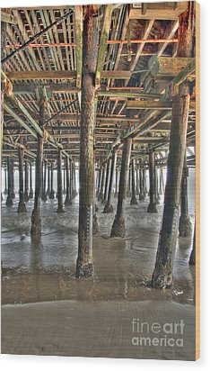 Wood Print featuring the photograph Under The Boardwalk Pier Sunbeams  by David Zanzinger