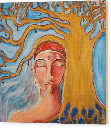 Under The Bodhi Tree Wood Print by Theresa Marie Johnson