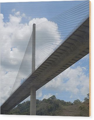 Under The Bridge Through Panama Wood Print by Karen J Shine
