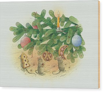 Under The  Christmas Tree Wood Print by Kestutis Kasparavicius