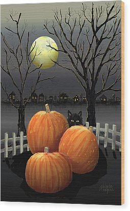 Under The Full Moon Wood Print by Arline Wagner