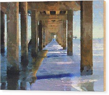 Under The Galvaston Pier Wood Print by Cedric Hampton