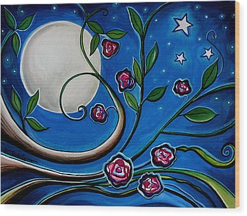 Under The Glowing Moon Wood Print by Elizabeth Robinette Tyndall