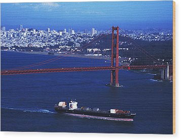Wood Print featuring the photograph Under The Golden Gate by Carl Purcell