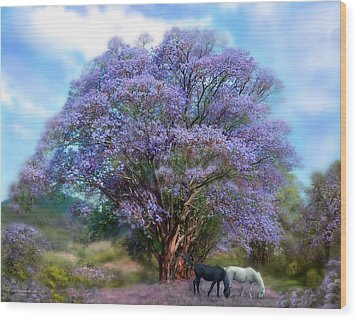 Under The Jacaranda Wood Print by Carol Cavalaris