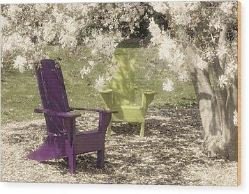 Under The Magnolia Tree Wood Print by Tom Mc Nemar