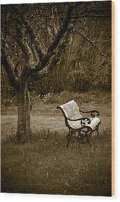 Under The Old Apple Tree Wood Print by Frank Tschakert