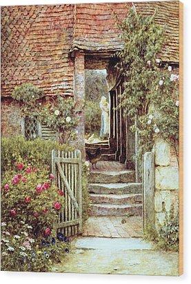 Under The Old Malthouse Hambledon Surrey Wood Print by Helen Allingham