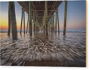 Wood Print featuring the photograph Under The Pier At Old Orchard Beach by Rick Berk