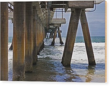 Wood Print featuring the photograph Under The Pier by Ron Dubin